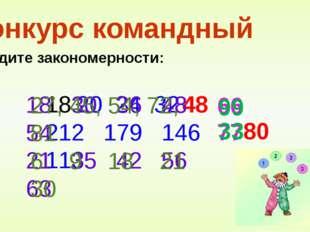 Конкурс командный Найдите закономерности: 20 24 32 212 179 146 113 48 80 18 3