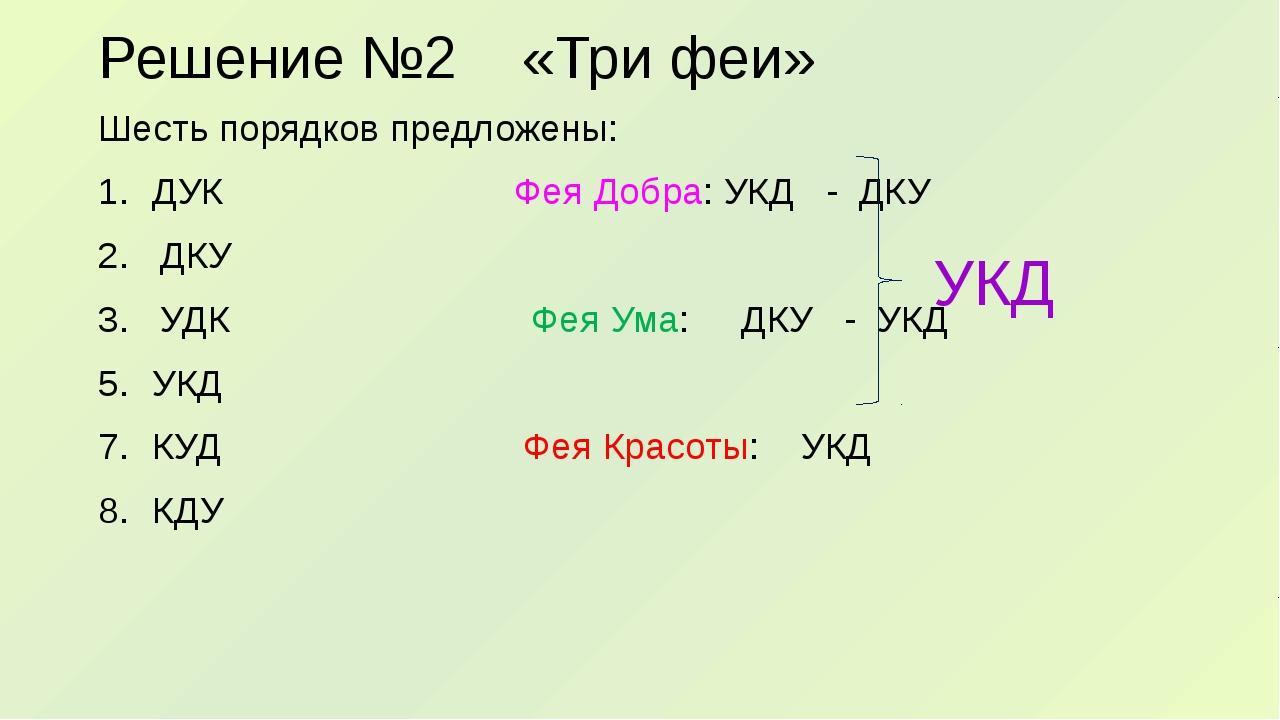 Решение №2 «Три феи» Шесть порядков предложены: ДУК Фея Добра: УКД - ДКУ 2. Д...