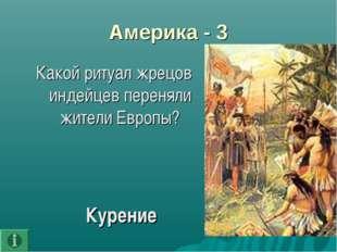 Америка - 3 Какой ритуал жрецов индейцев переняли жители Европы? Курение