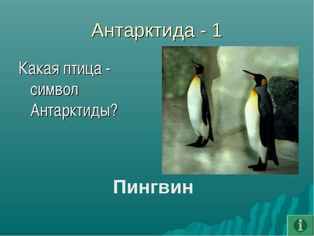 Антарктида - 1 Какая птица - символ Антарктиды? Пингвин