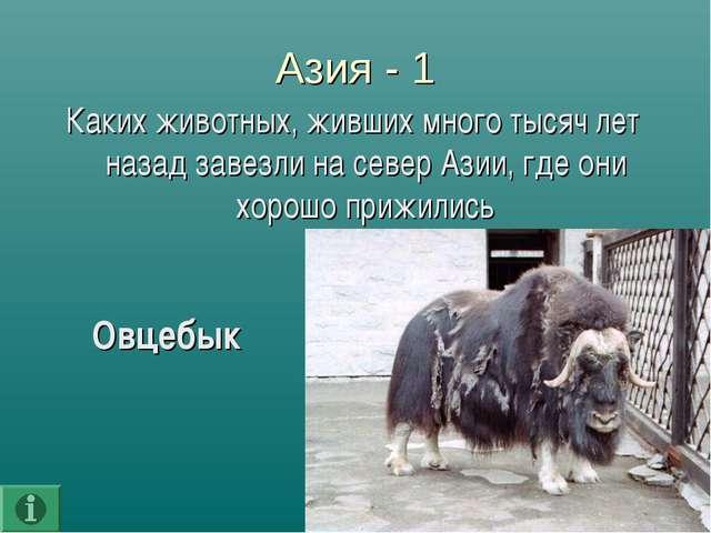Азия - 1 Каких животных, живших много тысяч лет назад завезли на север Азии,...
