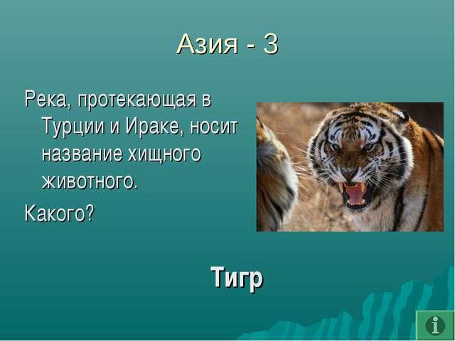 Азия - 3 Река, протекающая в Турции и Ираке, носит название хищного животного...