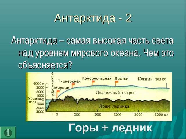Антарктида - 2 Антарктида – самая высокая часть света над уровнем мирового ок...