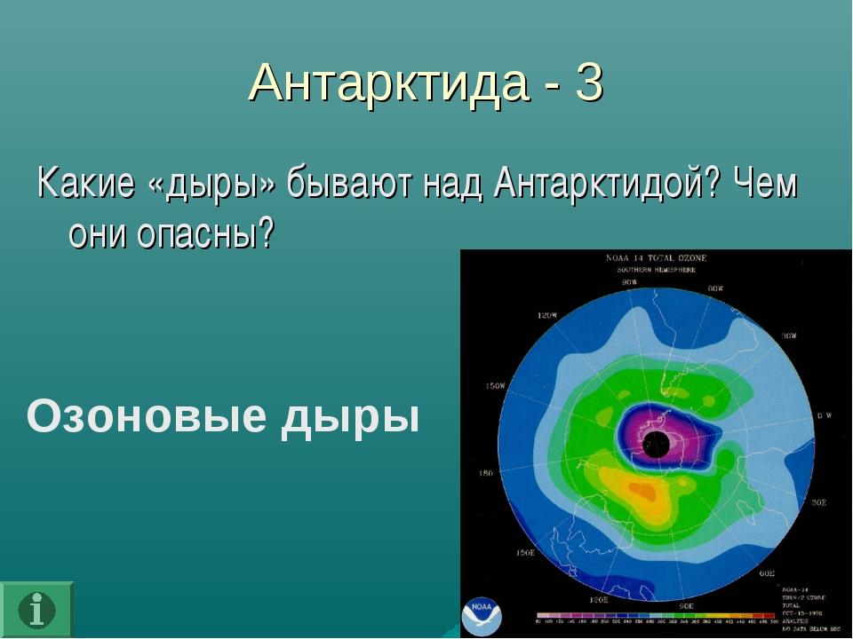 Антарктида - 3 Какие «дыры» бывают над Антарктидой? Чем они опасны? Озоновые...