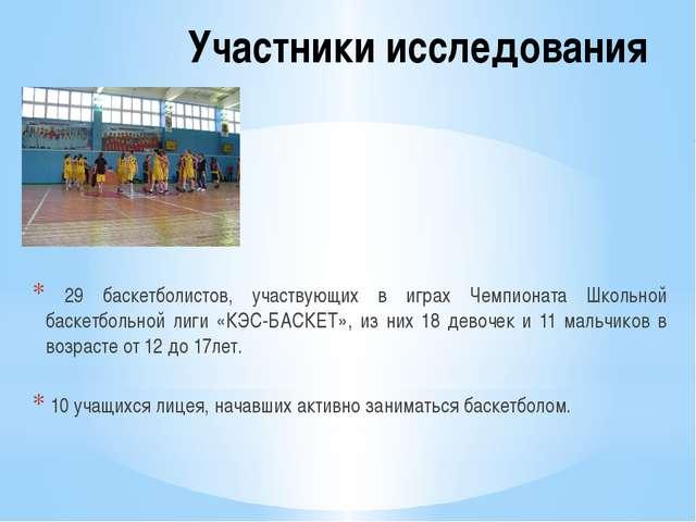 Участники исследования 29 баскетболистов, участвующих в играх Чемпионата Школ...