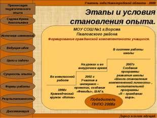 Этапы и условия становления опыта. Учитель года Нижегородской области - 2009