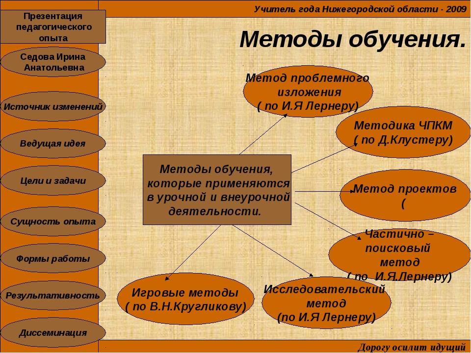 Методы обучения. Учитель года Нижегородской области - 2009 Дорогу осилит иду...