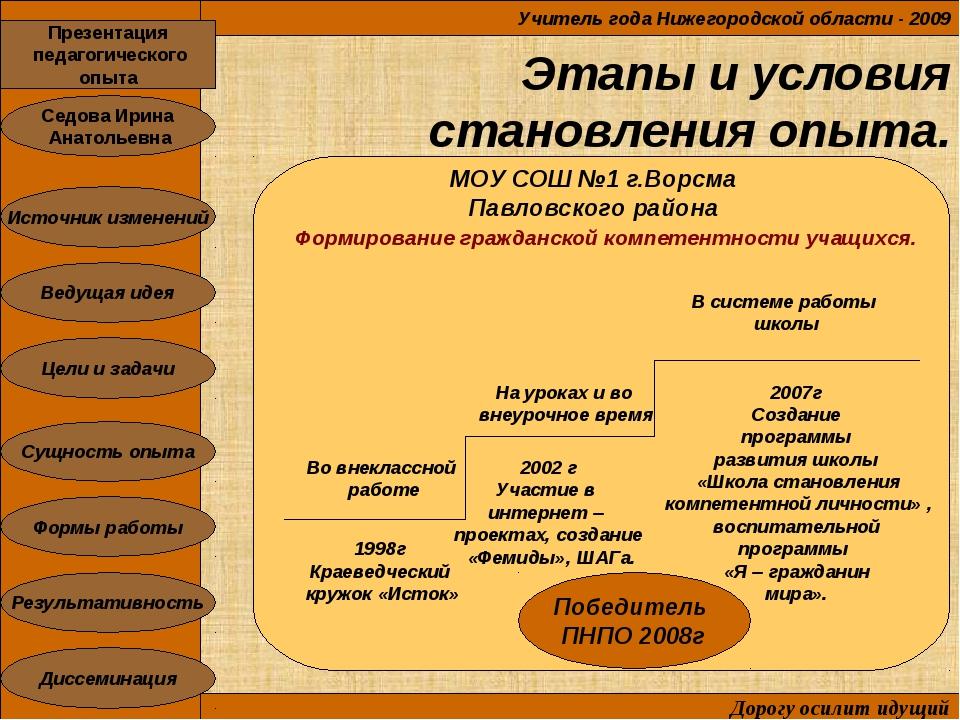 Этапы и условия становления опыта. Учитель года Нижегородской области - 2009...