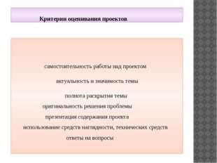Критерии оценивания проектов самостоятельность работы над проектом актуально