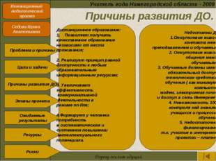 Причины развития ДО. Учитель года Нижегородской области - 2009 Инновационный