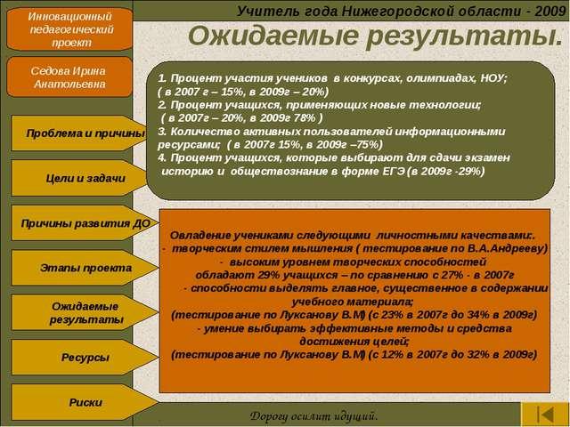 Ожидаемые результаты. Учитель года Нижегородской области - 2009 Инновационны...