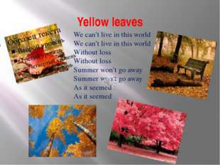 Yellow leaves We can't live in this world We can't live in this world Without