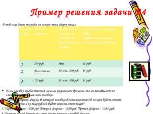 Пример решения задачи B4 В таблице даны тарифы на услуги трех фирм такси. Ес