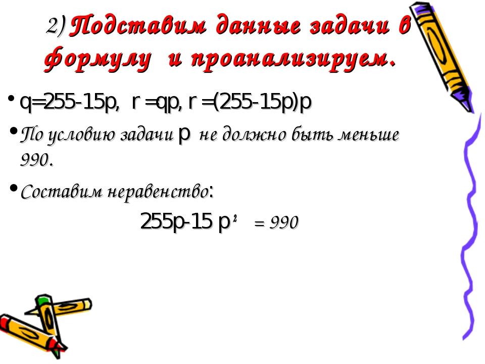 2) Подставим данные задачи в формулу и проанализируем. q=255-15p, r =qp, r =...