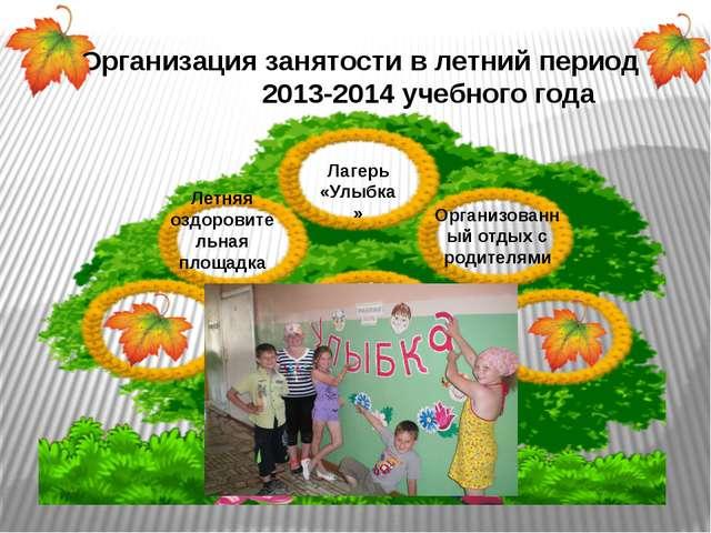 Организация занятости в летний период 2013-2014 учебного года Лагерь «Улыбка»...