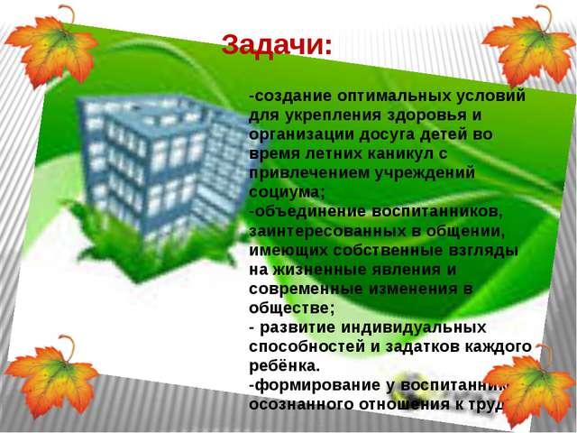 Задачи: -создание оптимальных условий для укрепления здоровья и организации д...