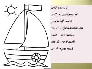 х=3-синий х=7- коричневый х=-5- чёрный х= 13 - фиолетовый х=2 – жёлтый х= -6