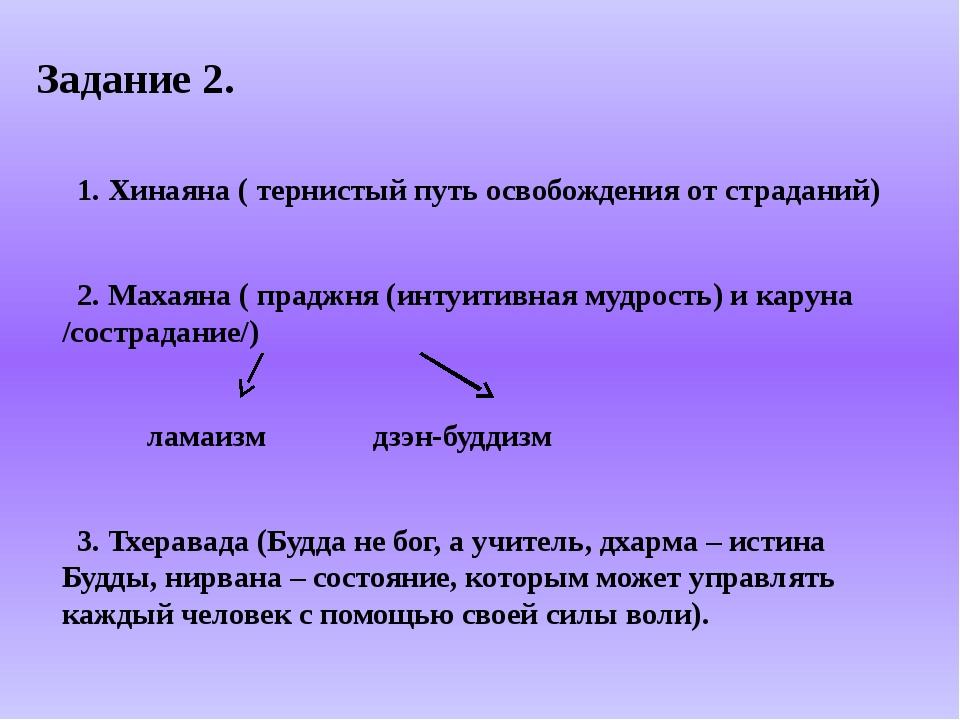 Задание 2. 1. Хинаяна ( тернистый путь освобождения от страданий) 2. Махаяна...