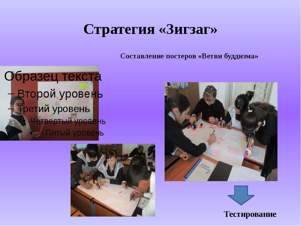Стратегия «Зигзаг» Составление постеров «Ветви буддизма» Тестирование
