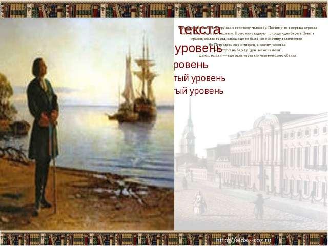 Пушкин относится к Петру как к великому человеку. Поэтому-то в первых строка...