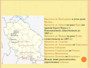 Крепость св. Екатерины в устье реки Малки. Крепость св. Павла на реке Куре (н