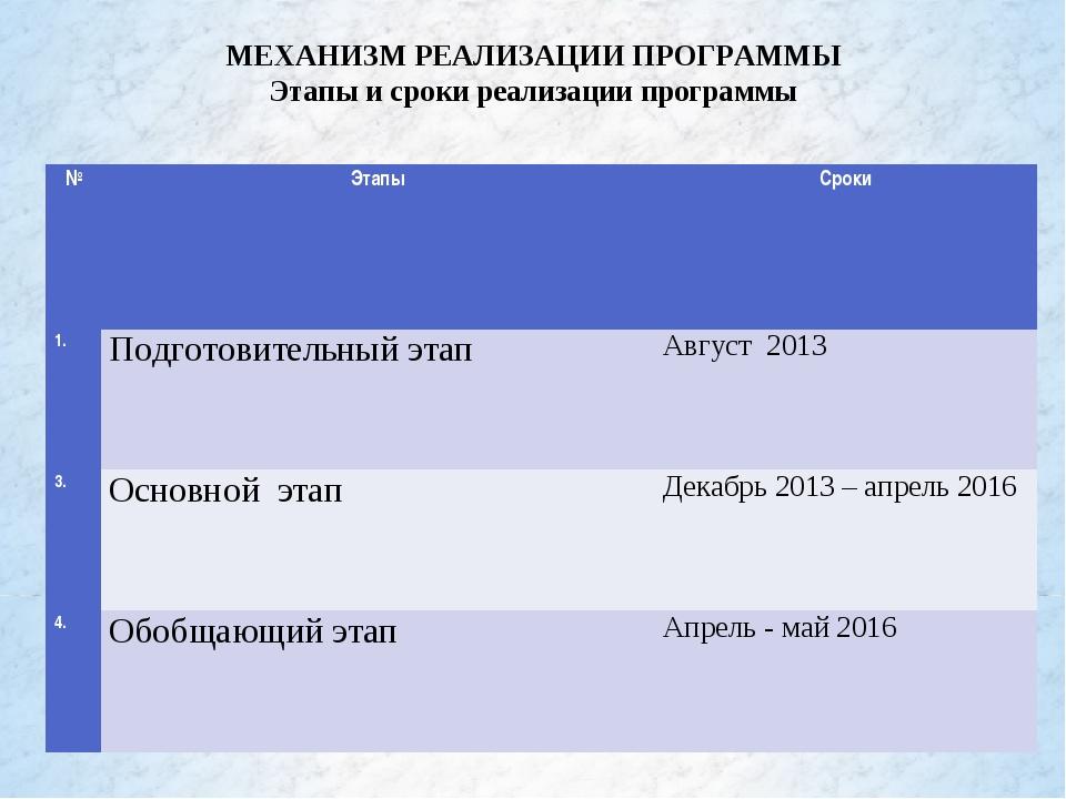 МЕХАНИЗМ РЕАЛИЗАЦИИ ПРОГРАММЫ Этапы и сроки реализации программы №ЭтапыСрок...