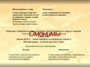 Омонимы Разновидности омонимов: Омонимы появляются в результате заимствовани