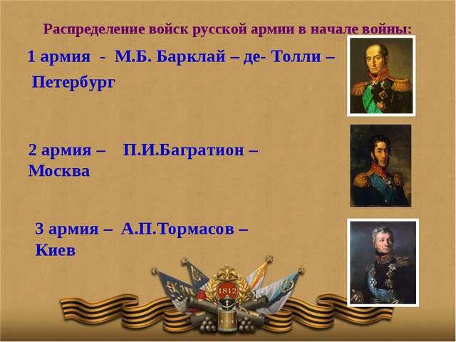 Распределение войск русской армии в начале войны: 1 армия - М.Б. Барклай – де...