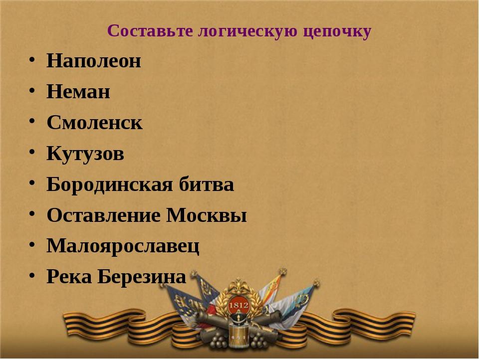 Составьте логическую цепочку Наполеон Неман Смоленск Кутузов Бородинская битв...