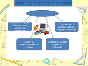 Интегрированный урок Технология опыта Усвоить в большем объеме новые знания