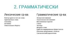 2. ГРАММАТИЧЕСКИ
