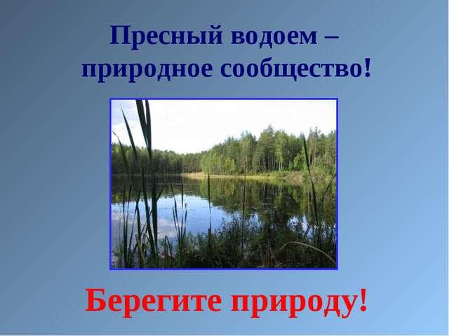 Пресный водоем – природное сообщество! Берегите природу!