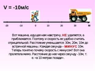 0 10 20 30 м -10 -20 V = -10м/c Вот машина, идущая нам навстречу, НЕ удаляетс
