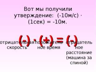 Вот мы получили утверждение: (-10м/с) · (1сек) = -10м. (-) · (+) = (-) отрица
