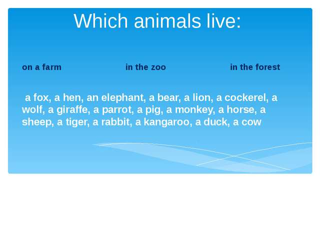 Which animals live: on a farm in the zoo in the forest a fox, a hen, an eleph...
