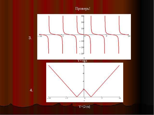 Проверь! 3. 4. Y=-tgx Y=|2-|x||