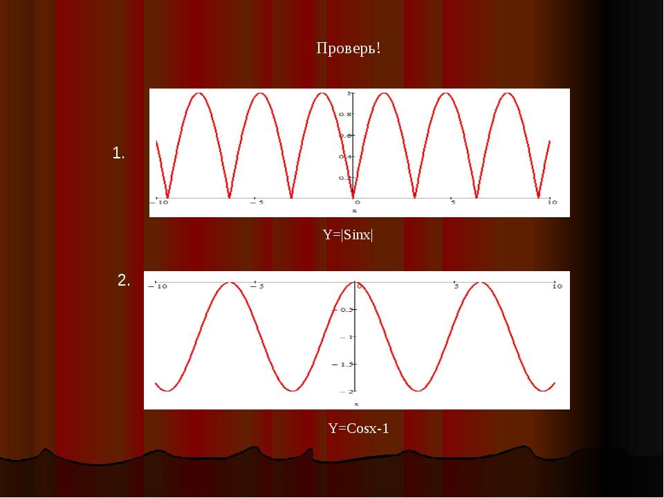 Y=|Sinx| 1. 2. Y=Cosx-1 Проверь!