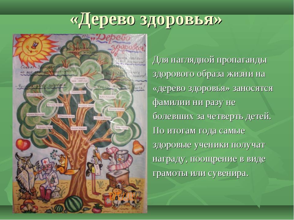 «Дерево здоровья» Для наглядной пропаганды здорового образа жизни на «дерево...