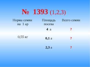 № 1393 (1,2,3) Норма семян на 1 арПлощадь посеваВсего семян 0,55 кг4 а?