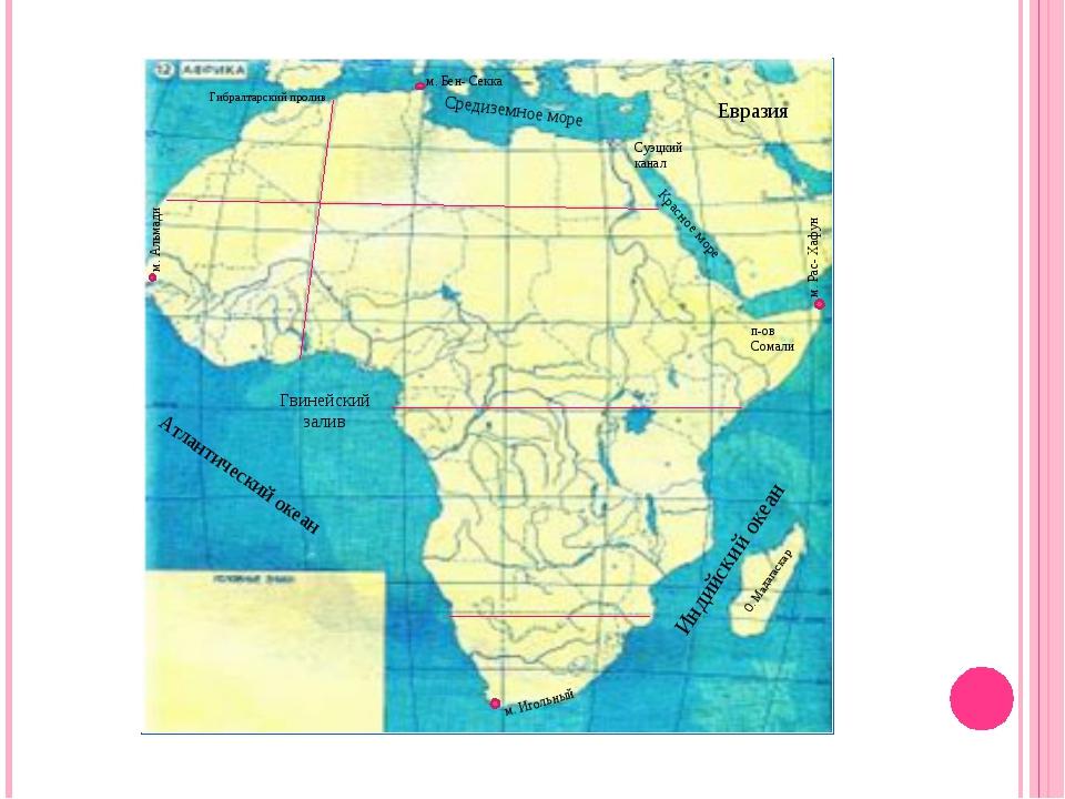 О. Мадагаскар Средиземное море Гвинейский залив Атлантический океан Красное м...