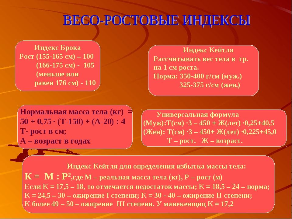 Индекс Брока Рост (155-165 см) – 100 (166-175 см) - 105 (меньше или равен 17...