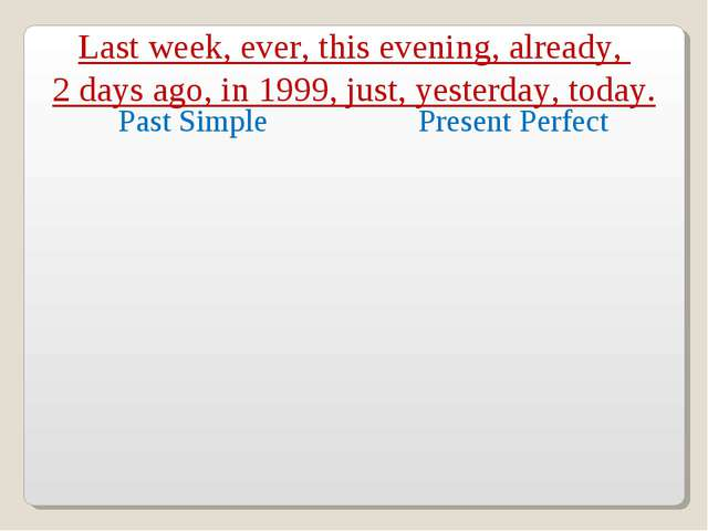 Last week, ever, this evening, already, 2 days ago, in 1999, just, yesterday,...