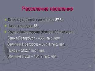 * Расселение населения Доля городского населения: 87 % Число городов: 55 Круп