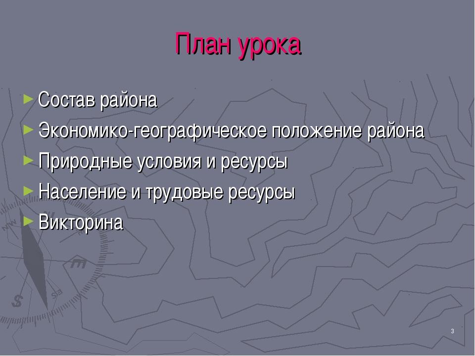 * План урока Состав района Экономико-географическое положение района Природны...