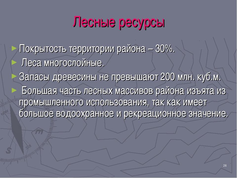 * Лесные ресурсы Покрытость территории района – 30%. Леса многослойные. Запас...