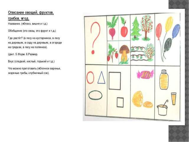 Описание овощей, фруктов, грибов, ягод. Название. (яблоко, вишня и т.д.) Обоб...