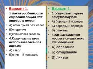 Вариант 1. 3. Какая особенность строения общая для ящериц и птиц: А) кожа сух