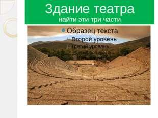 Здание театра найти эти три части Места для зрителей орхестра скене