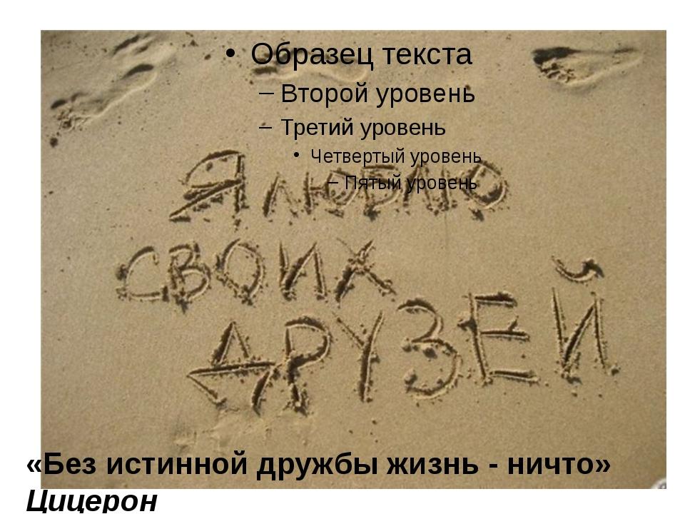 «Без истинной дружбы жизнь - ничто» Цицерон
