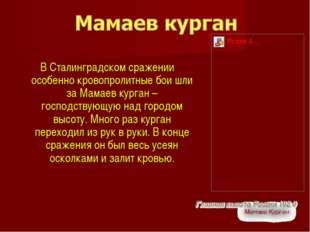 В Сталинградском сражении особенно кровопролитные бои шли за Мамаев курган –